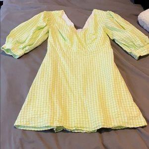 Neon green gingham dress